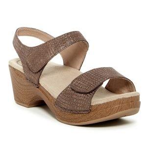 Dansko Sonnet Croc Embossed Sandals, Sz 38